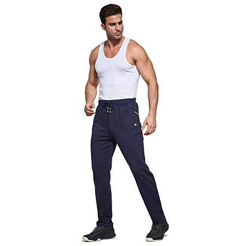 JustSun Mens Jogging Bottoms Slim Fit Casual Joggers Bottoms Sports Trousers with Elastic Waist Drawstring Zipper Pockets Blue UK 2X-Large