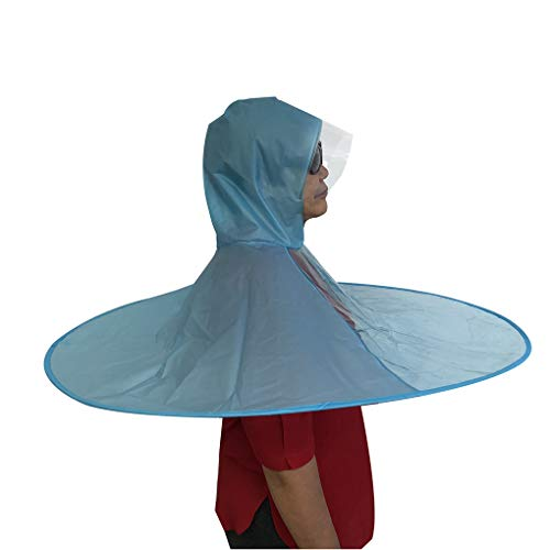 Lafuncosa Plus Size Funny Adult Blue UFO Raincoat Hands Free Oval Umbrella Fishing XL (65' -Above)