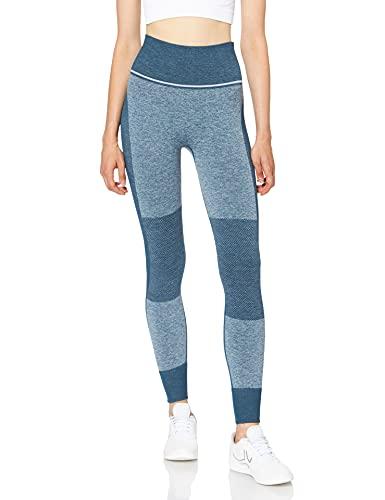 Marca Amazon - AURIQUE Mallas de Deporte sin Costuras de Tiro Alto Mujer, Azul (Gibraltor Sea), 40, Label:M