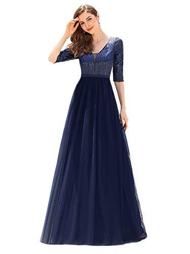 Ever-Pretty Damen V-Ausschnitt Halber Ärmel Tüll A-Linie Hohe Taille Ballkleider mit Pailletten Navy Blau 54