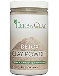 Herb n' Clay 100% Natural Calcium Bentonite Detox Clay Powder 32 Ounce (2 Pound) -- for Detoxification, Colon Cleanse, Body Balance and Energy , Good for Internal n External Use