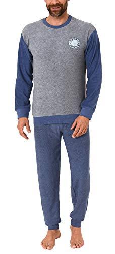 Langer Herren Frottee Pyjama, Schlafanzug mit Bündchen - 291 101 13 574, Größe2:56, Farbe:grau-Melange