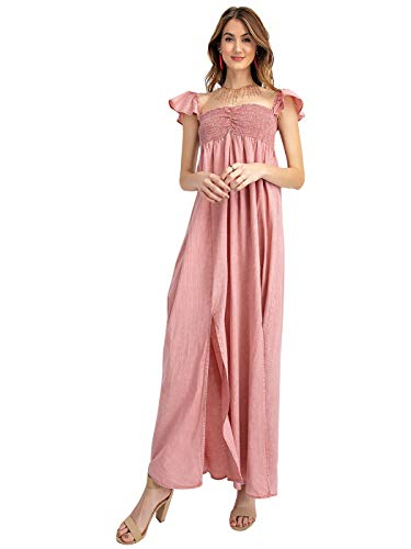 Anna-Kaci Renaissance Peasant Maiden Boho Inspired Short Sleeve Long Flowy Summer Dress,Pink,Small