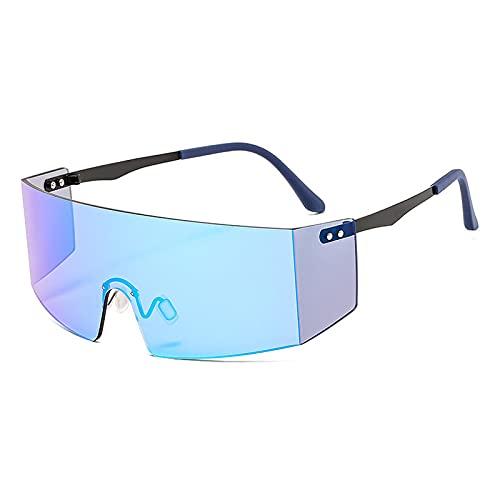 Gafas De Sol Gafas De Sol Sin Montura De Moda para Mujeres Y Hombres, Gafas Grandes Planas, Gafas De Sol De Gran Tamaño, Gafas De Espejo para Mujer, Uv400 C8, Negro-Azul