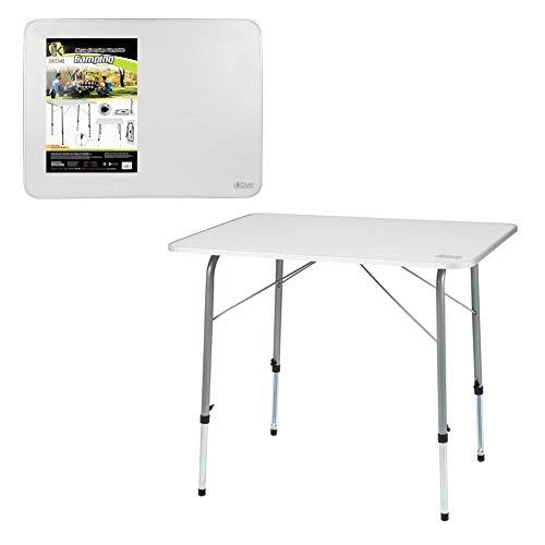 Aktive 52868 Campingtisch verstellbar und klappbar, 80 x 60 x 50/69 cm, weiß