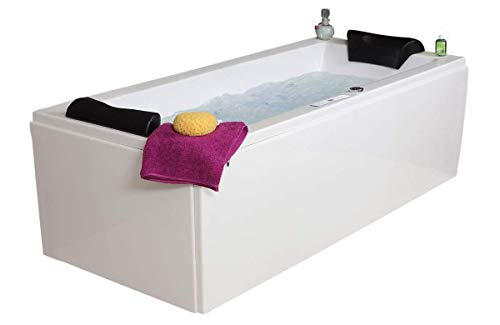 Whirlpool Badewanne Relax Profi MADE IN GERMANY 180 / 190 / 200 x 80 / 90 cm mit 24 Massage Düsen + Unterwasser Beleuchtung / Licht + Heizung + Ozon Desinfektion + OHNE Armaturen