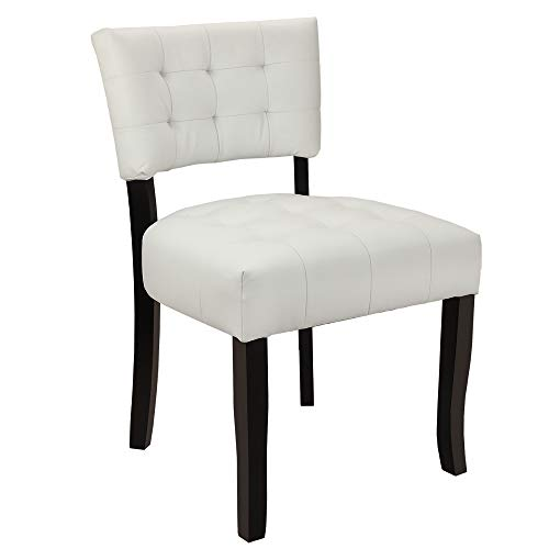 Homegear Oversized Tufted Faux Leather Accent Chair (White)