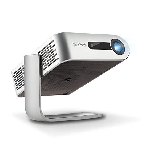 Viewsonic M1+ Portabler LED Beamer (WVGA, 300 Lumen, integrierter Akku, HDMI, USB, USB-C, WLAN Konnektivität, Bluetooth, SD-Kartenleser, 3 Watt Lautsprecher) silber