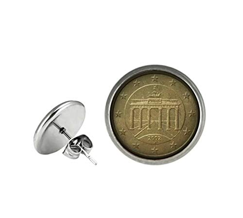 Xubu - Pendientes de botón de Plata de Ley Alemana de 50 Euros, Regalo para coleccionistas de Monedas