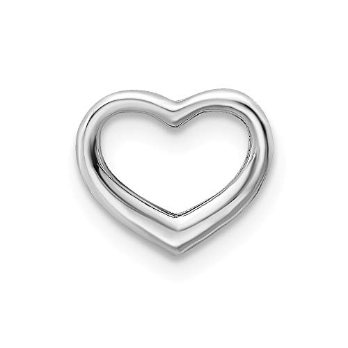 14k White Gold Mini Floating Heart Slide Necklace Pendant Charm Love Chain Fine Jewelry For Women Gifts For Her