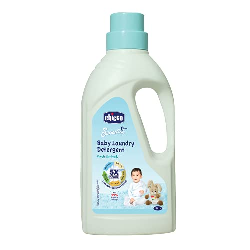 Chicco Baby Laundry Detergent, Fresh Spring, 5X Stain & Germ Fighter, Kills 99% of Germs, Gentle on Clothes & Skin (1 L)