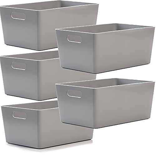 Cesta de plástico para estudio, cajas de almacenamiento, organización en casa o en la oficina, adecuada para estantes, cajones, armarios de lavadero, etc., 25,5 x 17 x 11 cm, color gris, 5 unidades