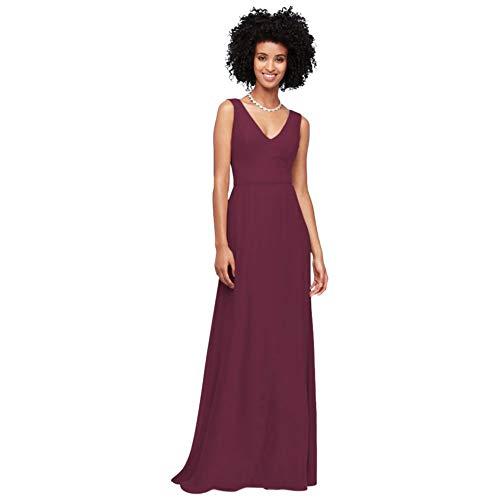 David's Bridal Chiffon V-Neck Tank Bridesmaid Dress Style F19938, Wine, 10