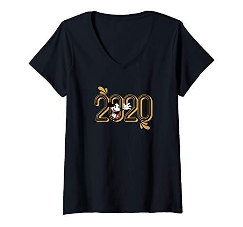 Femme Disney Mickey Mouse Waving New Years 2020 T-Shirt avec Col en V