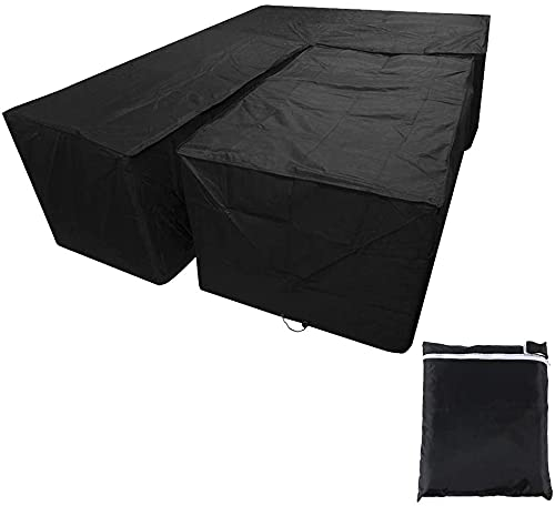 Outdoor Large L-Shape Corner Sofa Cover Waterproof Oxford Fabric Rattan Garden Furniture Covers Protective Dining Table Chair Dust-Proof Windproof Rain Cover with Straps & Storage Bag (300*300*98cm)