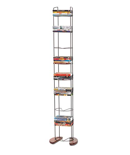 Atlantic Wire Frame Media Tower - 93 DVD Storage Rack, Wide Stable Base, PN 72212041 in Black Metal and Cherry Wood