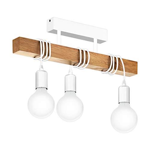 EGLO Deckenlampe Townshend, 3 flammige Vintage Deckenleuchte im Industrial Design, Retro Pendelleuchte aus Stahl und Holz, Farbe: Weiß, braun, Fassung: E27