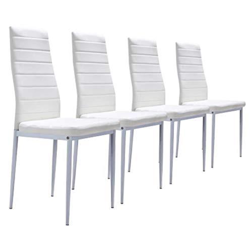 MOG CASA - Conjunto de 4 sillas de Comedor con Patas metálicas y tapizadas de Piel sintética alcochado - Dimensiones 42x42x98cm (Blancas, 4)
