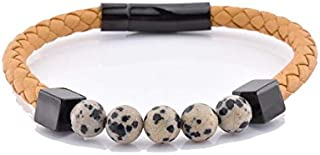 Stylish Leather and Black Charm Dalmatine Jasper Unisex Bracelet…