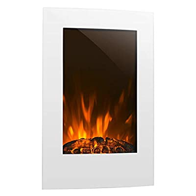 Klarstein Lausanne - Electric Wall-Mounted Fireplace, V2, 1000 or 2000 W, Electric Fan Heater, Flame Illusion, Flame Effect, Dimmer Function, Space-Saving Wall Installation