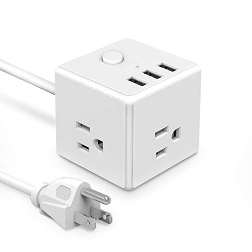 USB Power Strip JSVER Power Strip flat plug with 3 USB Ports 3 Outlet Desktop usb Charging Station 4.92Ft Extension Cord Power Cube for Travel, Cruise Ship, Office, Home, Smartphone, Tablets - White