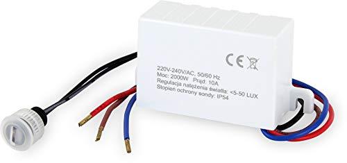 Mini sensore crepuscolare da incasso IP54 – LED adatto 1 W 2000 W – Interruttore crepuscolare esterno