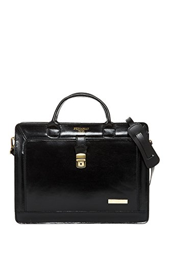 Persaman NY Elvin Italian Leather Top Zip Double Gusset Briefcase Black
