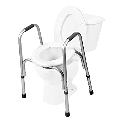 PCP Raised Toilet Seat and Safety Frame (Two-in-One), Adjustable Rise Height, Secure Elevated Lift Over Bowl, Made in USA by Surgical Appliance Industries