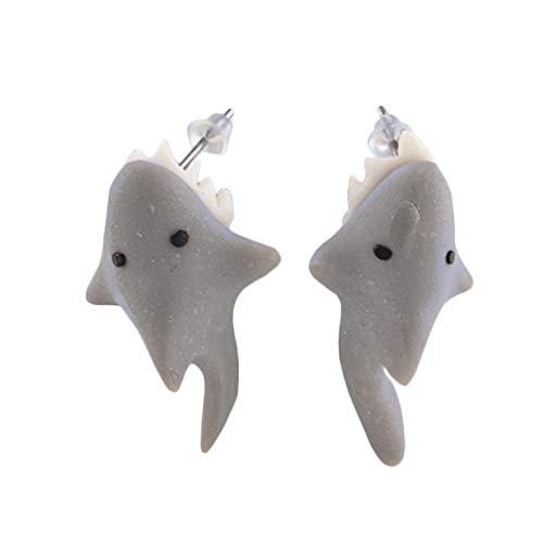 YAZILIND 1 Paar Polymer Clay Ohrstecker 3D-Tierohrringe Weiche Keramik Handgefertigter Ton Piranha Shark Ohrringe für Mädchen Wome Shark