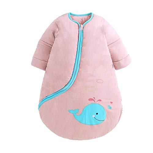 ZHSGV Bebé orgánico del algodón del Saco de Dormir con Manga Larga Invierno usable Manta for el niño Espesar Caliente del lecho del sueño Saco Saco (Color : Thin Pink, Kid Size : 2 5T(100cm))
