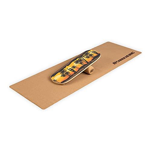 BoarderKING® Indoorboard Hawaii inkl.Korkrolle und Bodenschutzmatte, effektives Core-Training für Zuhause, verbessert das Gleichgewicht, Skateboard, Surfboard, Balanceboard, surfen im Wohnzimmer