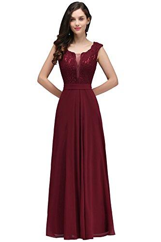 Babyonlinedress® Ärmellos Spitze Chiffon Hochzeitskleid Brautkleid Burgundy 36
