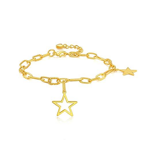 Pulsera Estrellas En Oro Amarillo De 24k - Pulsera Stars para Mujer O Niña - Medida 16cm De Alargador Regalo del Dia De La Madre Regalo De Cumpleaños