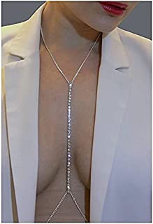 Chicque Rhinestone Body Chains Sexy Belly Chain Beach Body Jewelry for Women and Girls (Silver)