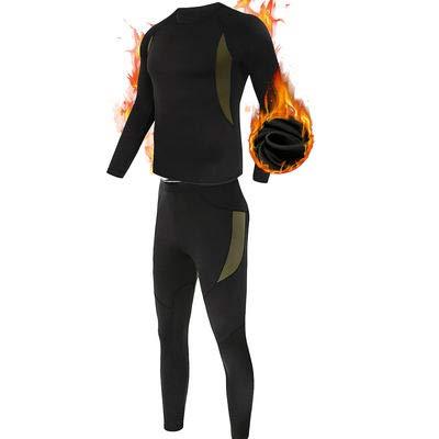ESDY Thermo-Unterwäsche-Set für Herren, Wicking Long Johns Quick Dry Basisschicht-Sport-Kompressionsanzug für Workout Skifahren Laufen,Schwarz,XL