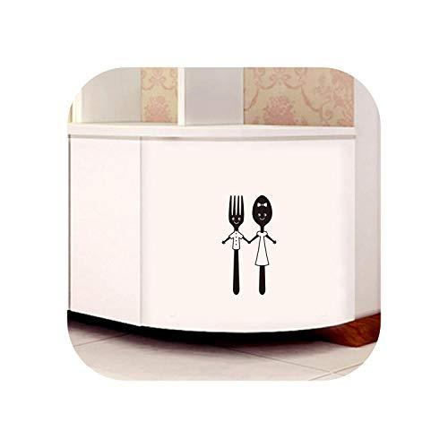 Vinilos navidenos Salon |Lindo cuchillo y tenedor herramienta etiqueta de la pared para mesa de comedor restaurante decoracion del hogar arte calcomanias vajilla pegatinas papel pintado-negro-