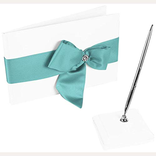 David's Bridal Regal Ties Guest Book and Pen Set Style DB75GBP, White/Spa