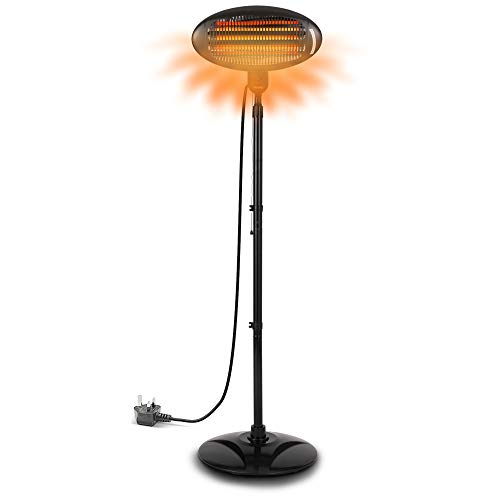 2KW Outdoor Free Standing Quartz Electric Garden Patio Heater 2000w Waterproof , 3 Power Settings , Height Adjustable Stand and Adjustable Heat Angle