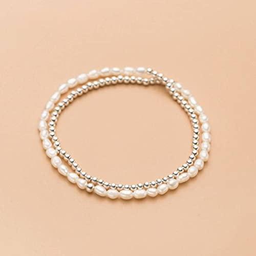 Good dress Pulsera de Plata S925, Pulsera Simple de Perlas Ligeras de Doble Capa para Mujerpulsera de plata s925