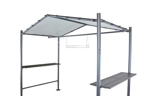 SORARA BBQ Grill Pavillon   Dunkel Grau   265 x 150 cm   PVC feuerhemmend Dach   Grillzelt mit Tisch