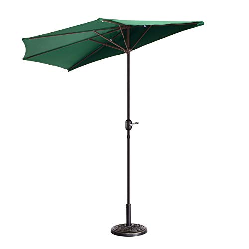 VILLACERA 83-OUT5462 9' Outdoor Patio Half 5 Ribs Fade Resistant Condo or Townhouse Umbrella in Forest Green