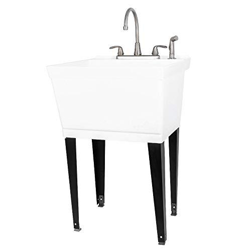 JS Jackson Supplies Waschbecken mit ausziehbarer Duelleinstellung, robuste Waschbecken für Keller, Waschküche, Garage oder Geschäft, große Standwaschstation Classic Weiße Wanne, Chrom-Wasserhahn
