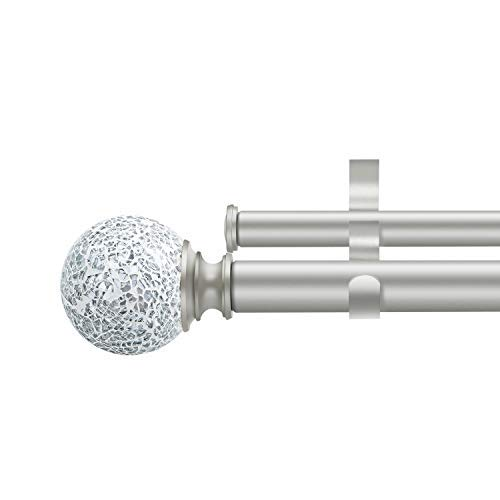 DAINTIER 1 Inch Double Rod Curtain Rod with Mosaic Resin Finial 72-144 inch Champagne Gold Pole