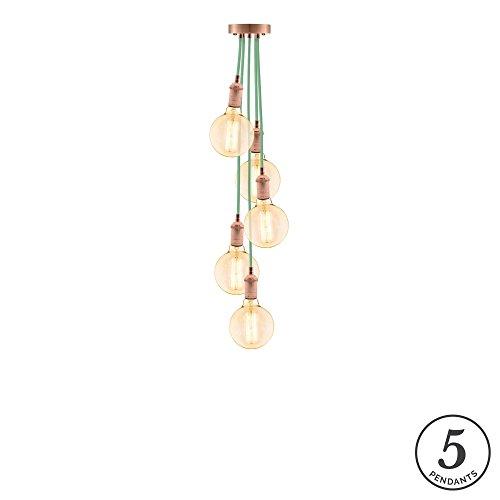 Eclectic Pendant Light Fixture. Eclectic Mint w/Vintage Copper 14...