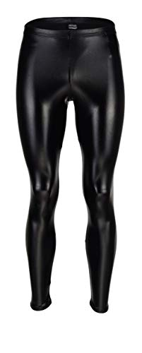 Vantissimo Herren Leder Leggings Made in Germany Lederhose Herren in Schwarz Hochglanz Lack-Optik Kunstleder enganliegend Stretch Hose, Meggings Wetlook Leggings Latex Leggings Lack Leggings (L)