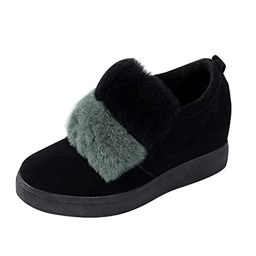 YWLINK Botas De Nieve Peludas Mujer,Casual Zapatos De Plataforma Holgazanes Zapatos Caseros Bonitos Zapatos Plataforma Duraderos Felpa Gruesa Invierno CáLido Plataform Botines (Verde, 36)
