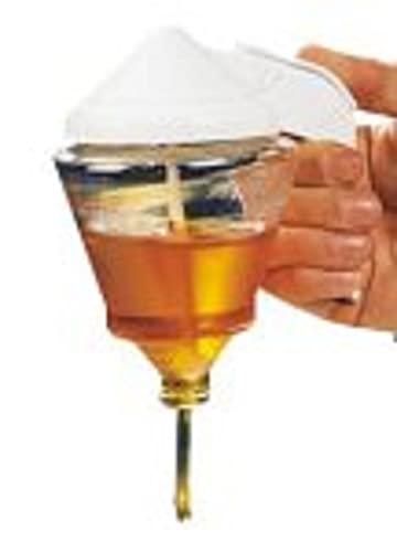 Fackelmann Transparente y Blanco Dispensador de Miel y Sirope antigoteo de Cristal, Color, 5x14x9cm. 1 ud, 12,5x14x9 cm