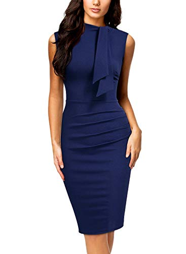 Miusol Women's Retro 1950s Style Half Collar Ruffle Cocktail Pencil Dress,Large,A-Navy Blue