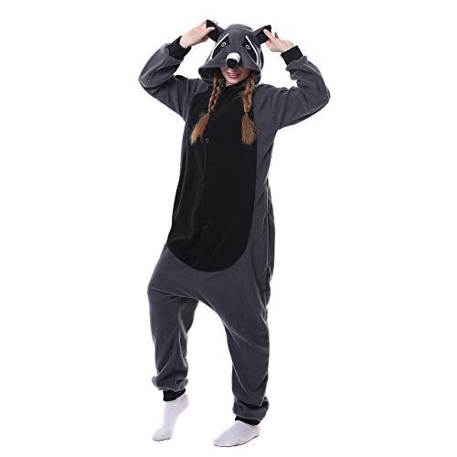 Grau Waschbär Pyjamas Damen Bekleidung Animal Erwachsene Unisex Schlafanzüge Karneval Onesies Cosplay Jumpsuits Anime Carnival Spielanzug Kostüme Weihnachten Halloween Nachtwäsche