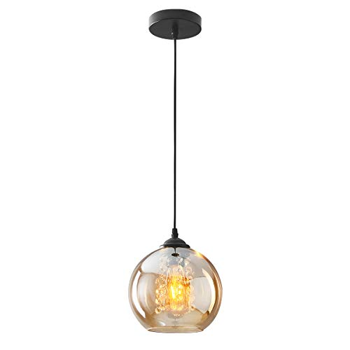 H.W.S LáMpara Colgante De Cristal DiseñO Bola Moderna Creativa DecoracióN Interior Ajustable En Altura Luminaria Sala Estar (amber, 1 flamming)